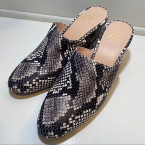 J. Crew Leather Snake Print Sophie Mules 6.5